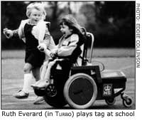 WATCH OUT! THEY ARE AFTER US! -- Ruth Everard (in Turbo) plays tag at school